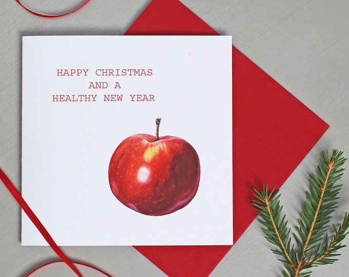 Featured listing image: Christmas card with Red Apple illustration