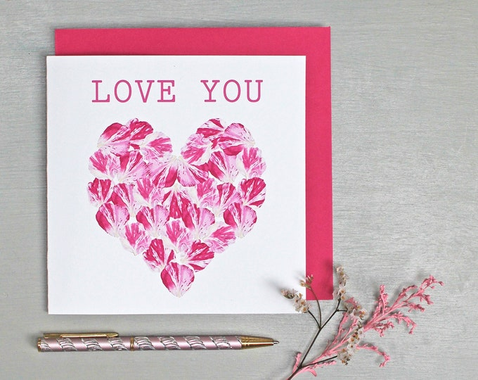 Featured listing image: LOVE YOU Valentine's Card with Rose Petals Heart