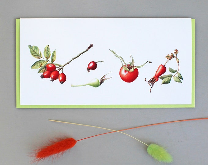 Featured listing image: Card with Rose Hip Illustrations