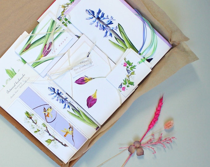 Featured listing image: Botanical Stationery and Bookmark Letterbox Gift Set