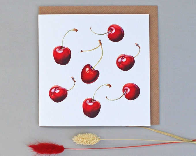 Featured listing image: Card with Cherry Illustrations