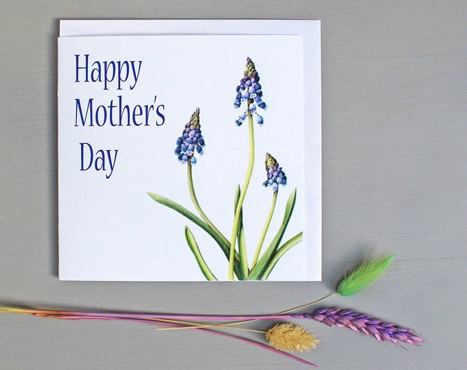 Featured listing image: Mothers Day Card with Grape Hyacinth illustration