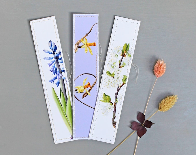 Featured listing image: Botanical Bookmarks with Spring Illustrations