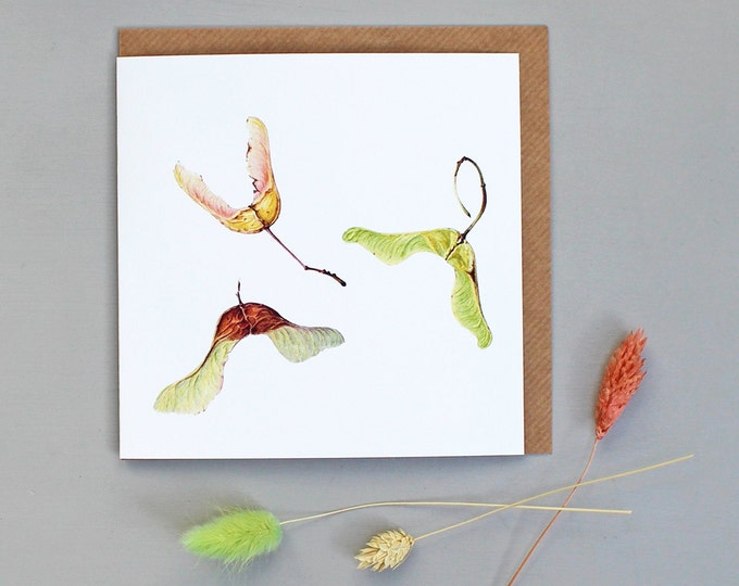 Featured listing image: Card with Maple Seeds Illustration