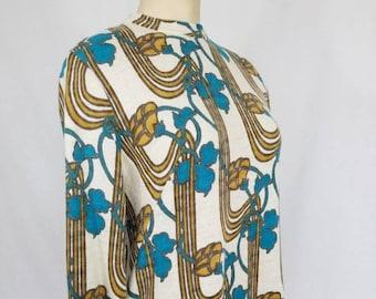 1960s Dress // 60s Wool Dress // 60s Lord and Taylor  // Art Nouveau Design // Vintage Dress // Size Medium // Vintage Dress Modern Size 8