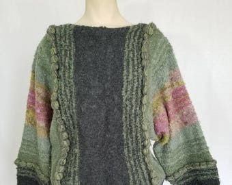 1970s Sweater // 70s Sweater // 70s Nubby Knit Sweater // Vintage 70s  Boho Sweater // Batwing Sweater // Vintage Sweater // Size L / XL
