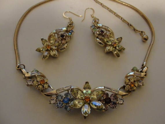 vintage coro necklace and remade pierced coro earr