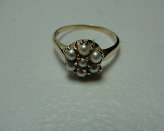 Vintage 14k and pearl ballerena or dome ring