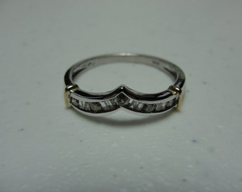 Save 10% Vintage 10k white gold with yellow gold accents diamond ring