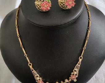 Vintage recycled necklace and screw back earrings