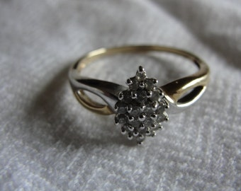 Vintage two tone 10k gold and diamond ring size 10.75