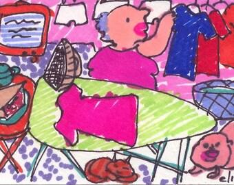 Ironing Board ORIGINALTrading Card Art Brut RAW Visionary Naive Elisa ACEO