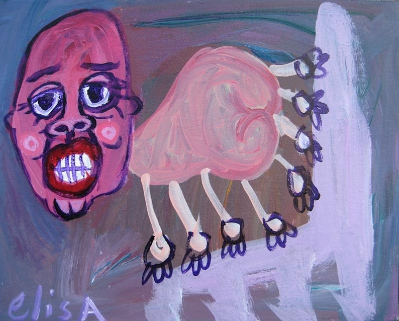 Spider On A Tuffet Art Brut RAW Outsider Visionary Naive image 0