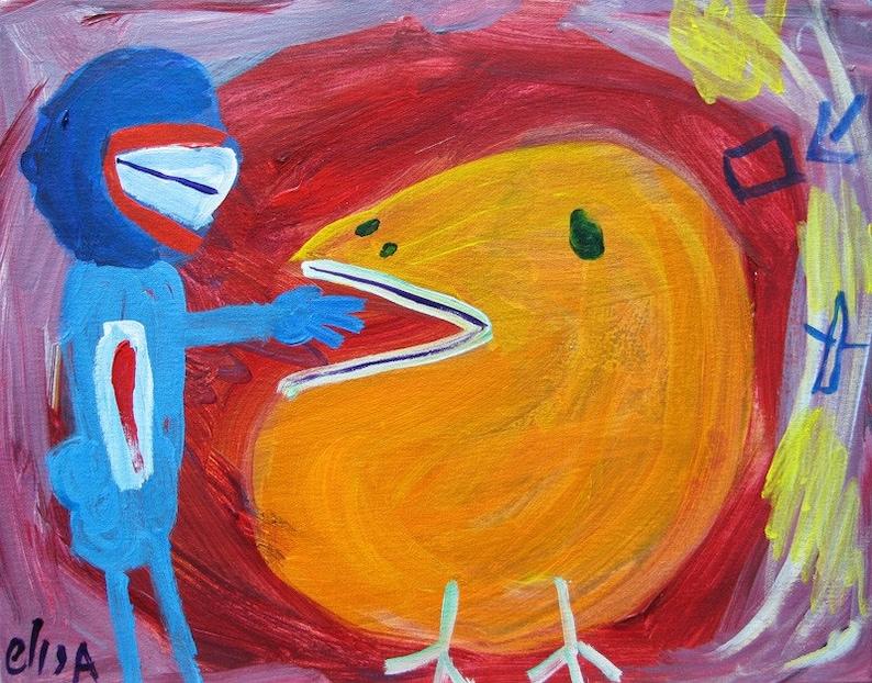 The Bird Outsider Art Brut Naive Primitive Elisa image 0