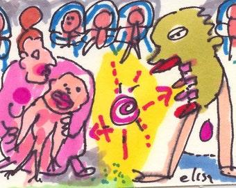 Contagious ORIGINAL Art Brut Trading Card RAW Outsider Naive Visionary Elisa ACEO