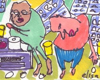 Egg Drop Soup ORIGINALTrading Card Art Brut RAW Visionary Naive Elisa ACEO