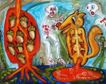 Conspiracy of Nuts Art Brut Trading Card PRINT RAW Outsider Naive Visionary Elisa ACEO