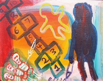 Hopscotch Strangler Outsider Art Brut RAW Acrylic Elisa