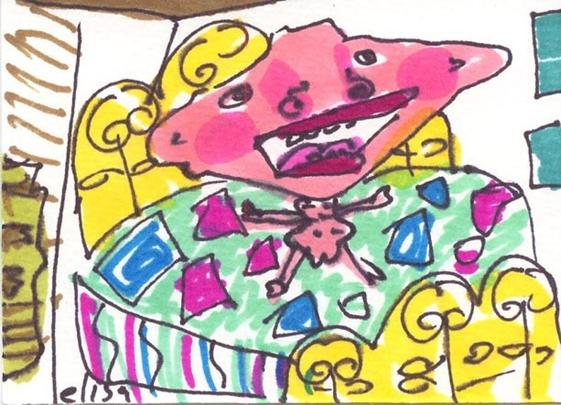 Jumping On Bed ORIGINAL Trading Card Outsider Art Brut RAW image 0