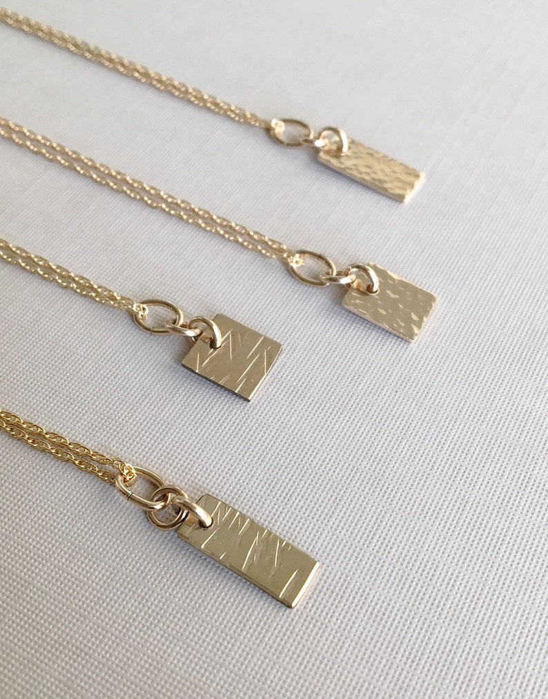 Small Gold Necklace  Tiny Hammered Necklace  Small Gold Pendant  Gold Hammered Necklace  Dainty Hammered Pendant  Tiny Gold Pendant