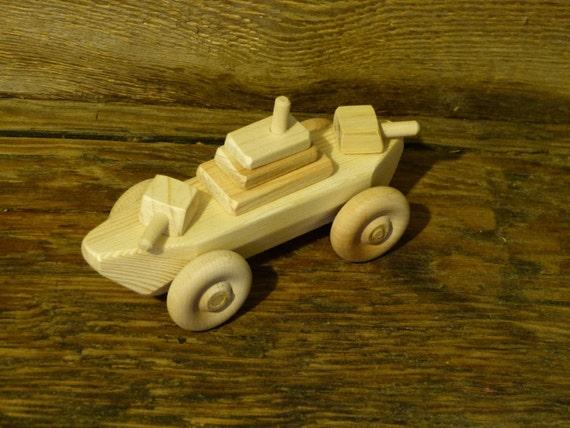 Items similar to Wood Toy Battleship WW2 Wooden Toys wheeled ship ...