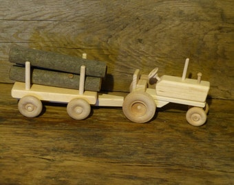 Wood Toy Tractor with log wagon Wooden Toys Boys Childs KIds Birthday Present Gift