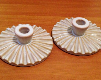 Christian Schollert Candlestick Holders, Denmark. Modernist Ceramic Pottery