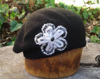 Black Wool Beret with Flower Accent