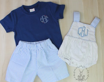 Boy\u2019s monogrammed pocket tee and seersucker shorts SET