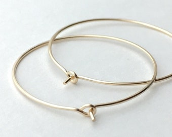 14K Gold Filled Hoop Earrings. Yellow Gold. Choose your size 2, 1.5 or 1 Inch