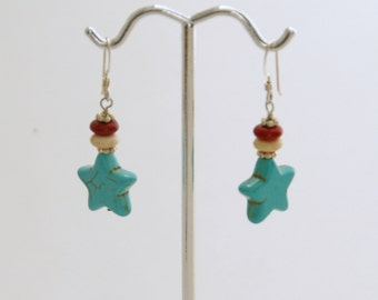Turquoise Earrings Solid 925 Sterling Silver Magnesite, Howlite, Stars