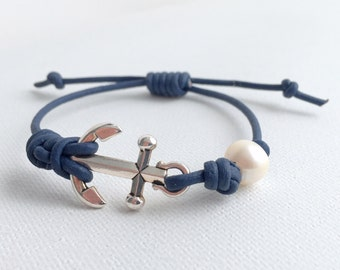 Anchor Bracelet. Freshwater Pearl, Navy Blue Leather, TierraCast Anchor. Unisex Jewelry. Adjustable.