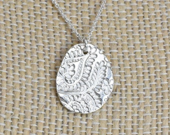 Silver Pendant Necklace with Paisley Design. Organic, Recycled Solid .999 Fine Silver and 925 Sterling Silver Necklace