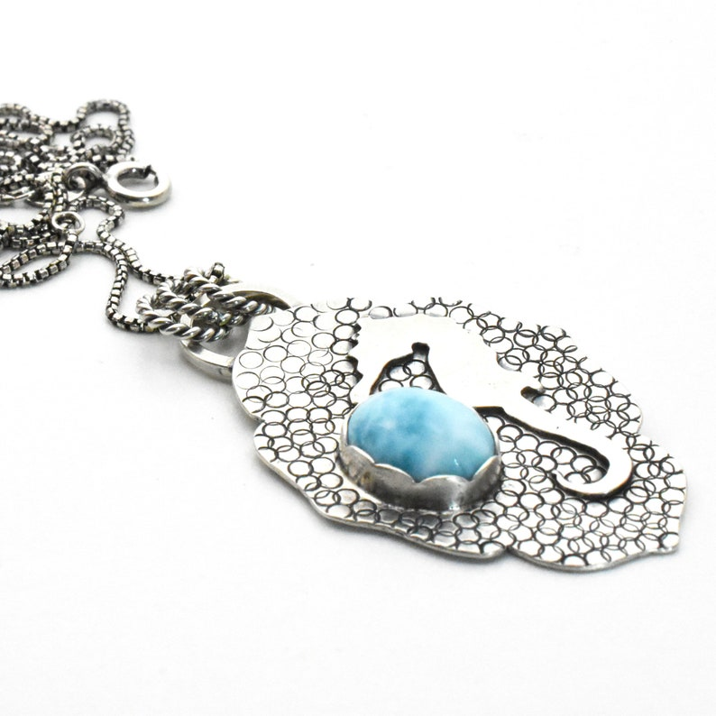 Hand Stamped Solid 925 Sterling Silver and Blue Larimar Necklace Larimar Seahorse Pendant Necklace Seahorse Necklace