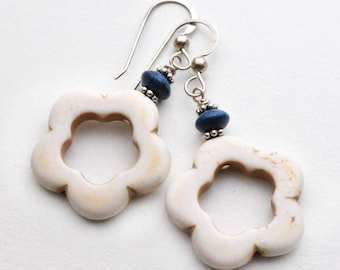 Navy and White Earrings. Magnesite / Howlite Earrings with Sterling Silver. White and Blue Earrings