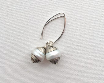 Tibetan Silver Pearl Earrings. Freshwater Pearls Capped with Tibetan Silver Accented with Sterling Silver