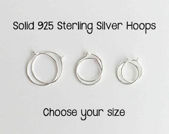 Tiny Hoop Earrings. Solid 925 Sterling Silver Hoop. Silver Loops. Silver Hoop Earrings. 10mm Hoops, 12mm Hoops, 8mm Hoops One PAIR (2 hoops)