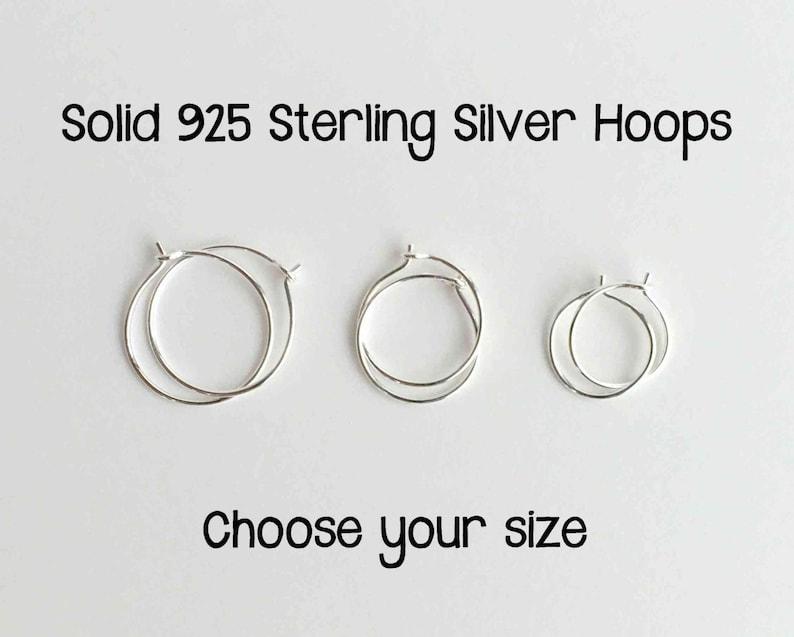 Tiny Hoop Earrings. Solid 925 Sterling Silver Hoop. Silver image 0