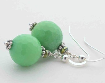 Green Moss Opal Earrings. Solid 925 Sterling Silver. Green Earrings. Gemstone Earrings. Key Lime Green. Gift for Her On Sale.
