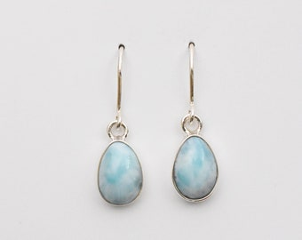 Larimar and Solid 925 Sterling Silver Earrings. High Quality Caribbean Blue Larimar. Genuine, Gorgeous and Rare.