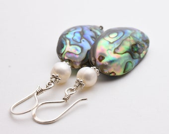 Paua Shell Earrings. Peacock Colored Abalone Shell with Sterling Silver and Freshwater pearls
