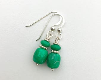 Candy Apple Green Lucin Variscite Earrings. Utah Variscite Earrings with Solid 925 Sterling Silver. Lucinite Earrings, Utahlite Earrings