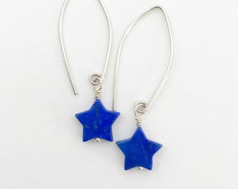 Lapis Star Earrings. Solid 925 Sterling Silver, Lapis Lazuli, Pyrite, Patriotic Jewelry