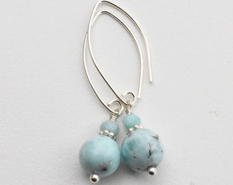 Genuine Larimar Earrings with Solid 925 Sterling Silver. High Quality Larmiar, Stefilia's Stone, Dolphin Stone. Aqua Blue Earrings