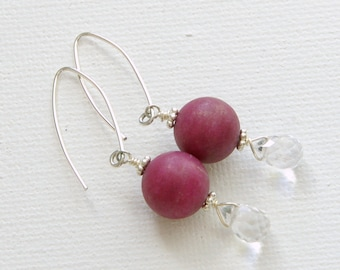 Burgundy Earrings. Matte Agate, Crystal Quartz and Sterling Silver