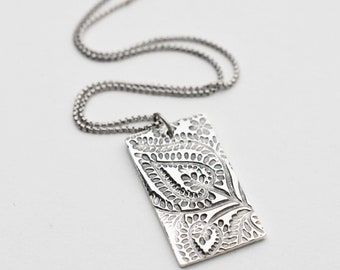 Silver Pendant Necklace with Paisley Design. Large Solid 925 Sterling Silver and .999 Fine Silver Necklace