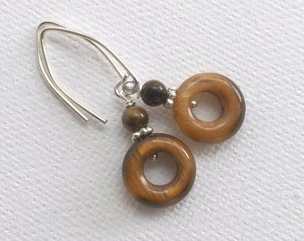 Tiger Eye Earrings. Brown Tiger Eye with Solid 925 Sterling Silver
