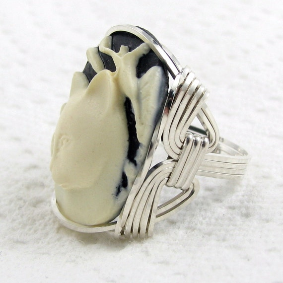 Calla Lily Cat Cameo Ring Sterling Silver Custom Animal Jewelry