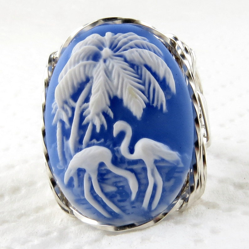 Flamingo Bird Cameo Ring .925 Sterling Silver Jewelry Blue Resin Size Selectable