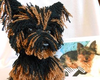Custom Crochet Dog, Yorkshire Terrier, Made to Look Like Owner's Dog, Custom Dog, Pet Memorial, Dog Memorial, Yorkie, Stuffed Dog, Canine